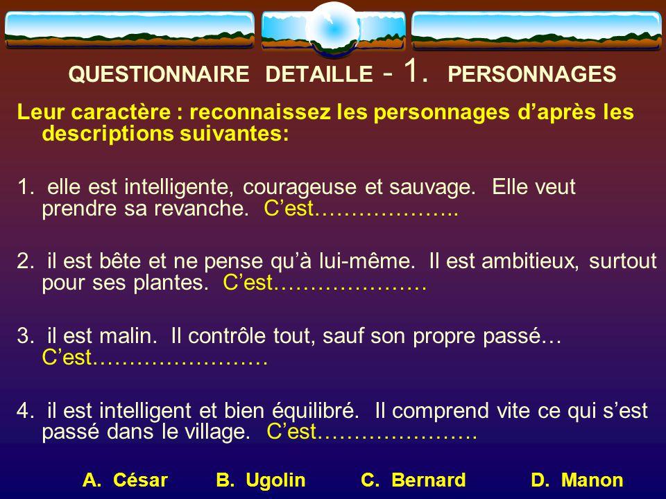 QUESTIONNAIRE DETAILLE - 1. PERSONNAGES