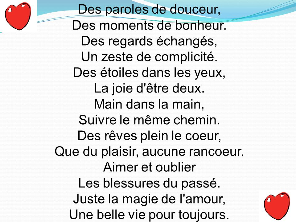 Des paroles de douceur, Des moments de bonheur