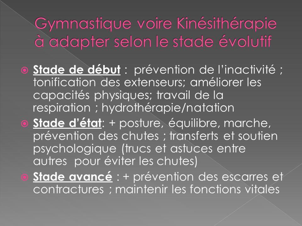 Gymnastique voire Kinésithérapie à adapter selon le stade évolutif