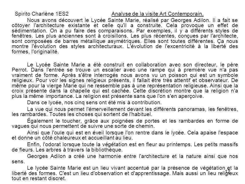 Spirito Charlène 1ES2 Analyse de la visite Art Contemporain.