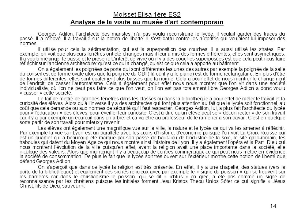 Moisset Elisa 1ère ES2 Analyse de la visite au musée d art contemporain