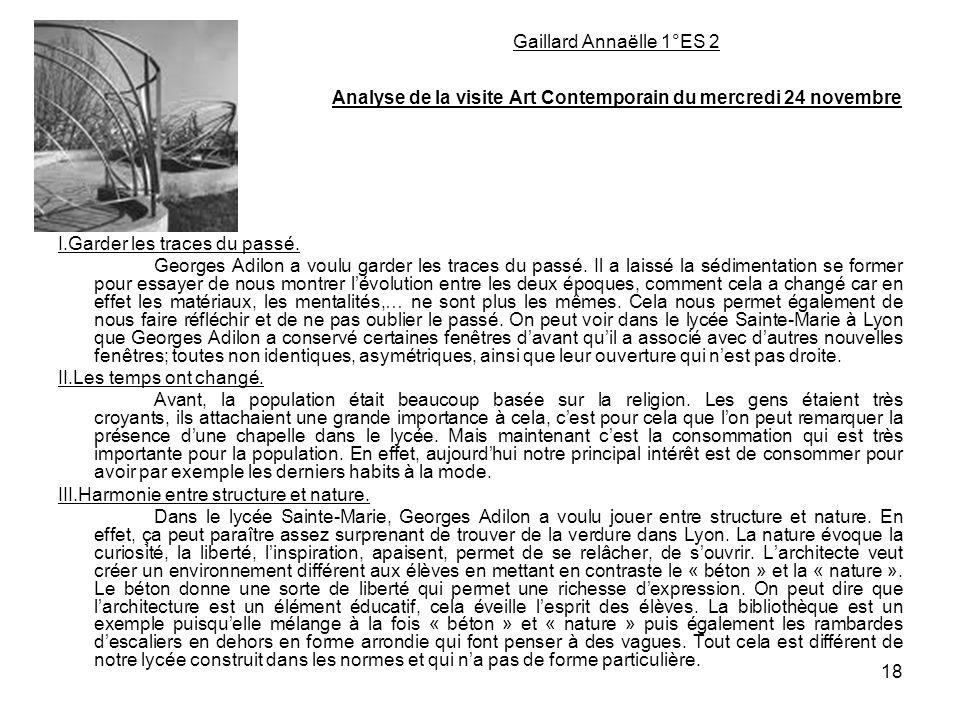 Gaillard Annaëlle 1°ES 2 Analyse de la visite Art Contemporain du mercredi 24 novembre