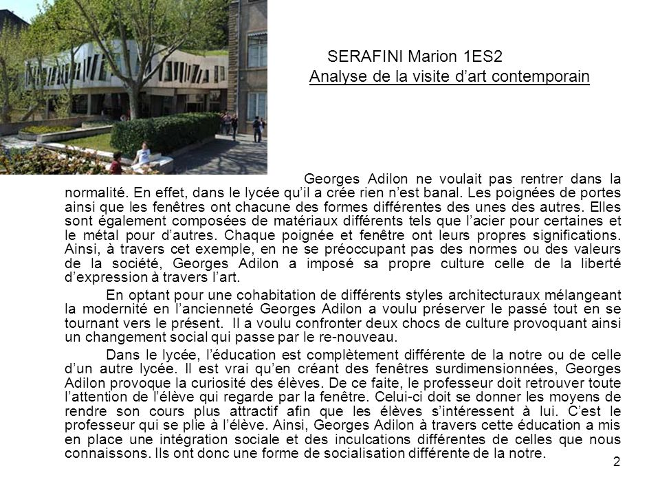 SERAFINI Marion 1ES2 Analyse de la visite d'art contemporain