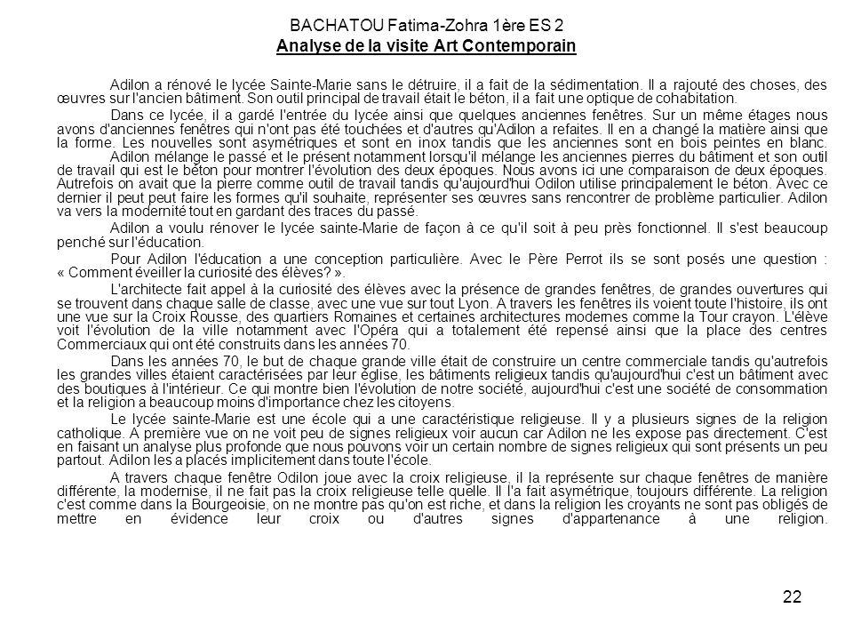 BACHATOU Fatima-Zohra 1ère ES 2 Analyse de la visite Art Contemporain