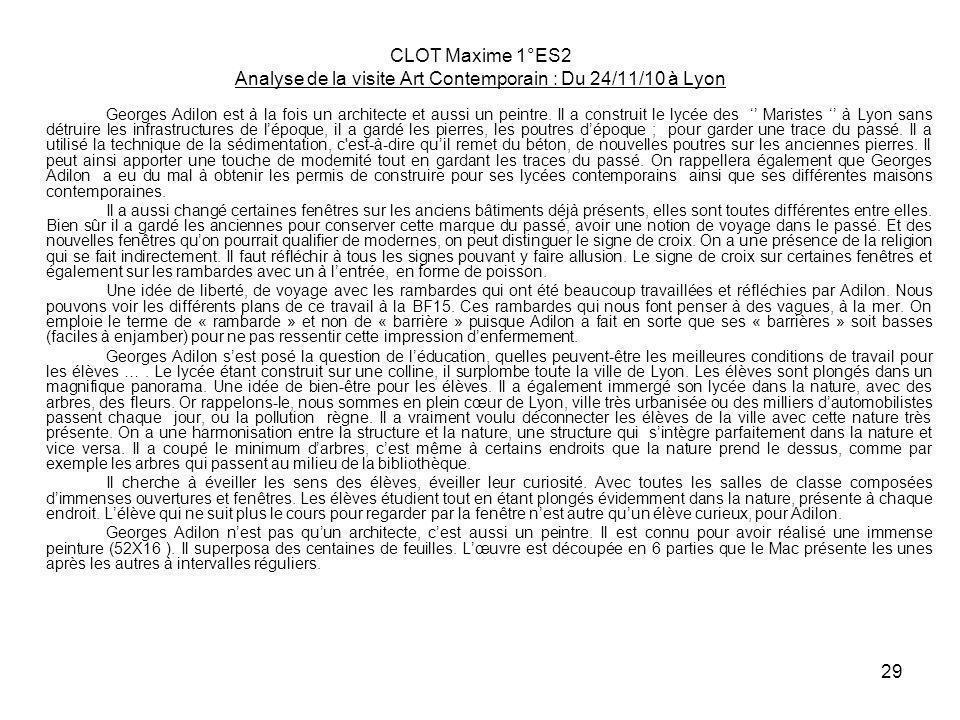 CLOT Maxime 1°ES2 Analyse de la visite Art Contemporain : Du 24/11/10 à Lyon