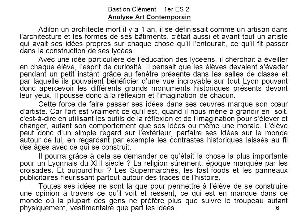 Bastion Clément 1er ES 2 Analyse Art Contemporain