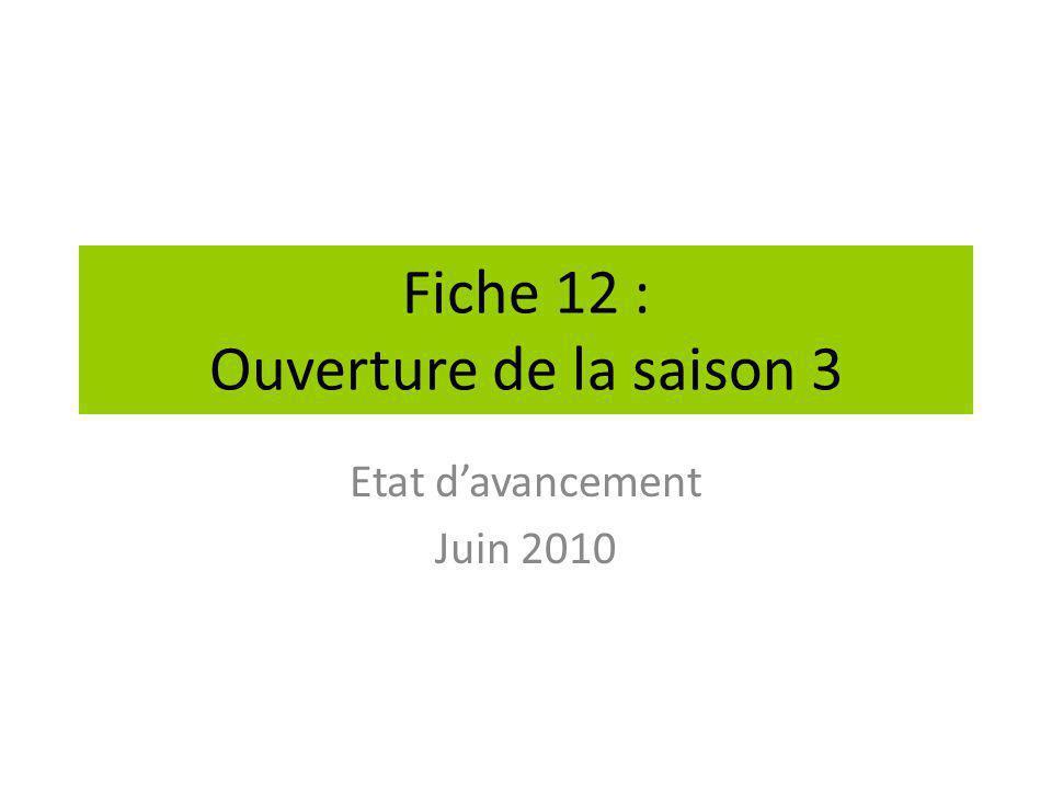 Fiche 12 : Ouverture de la saison 3
