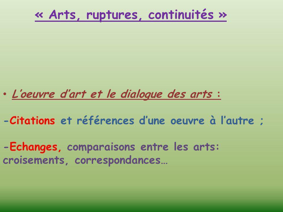 « Arts, ruptures, continuités »