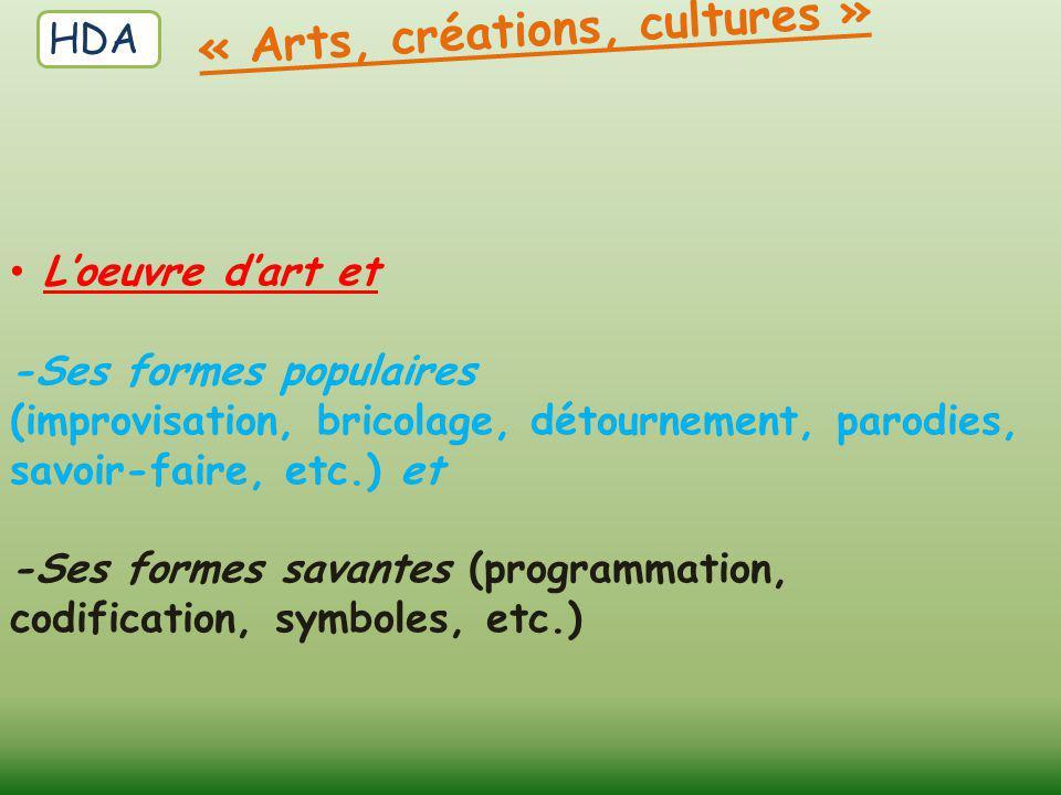 « Arts, créations, cultures »
