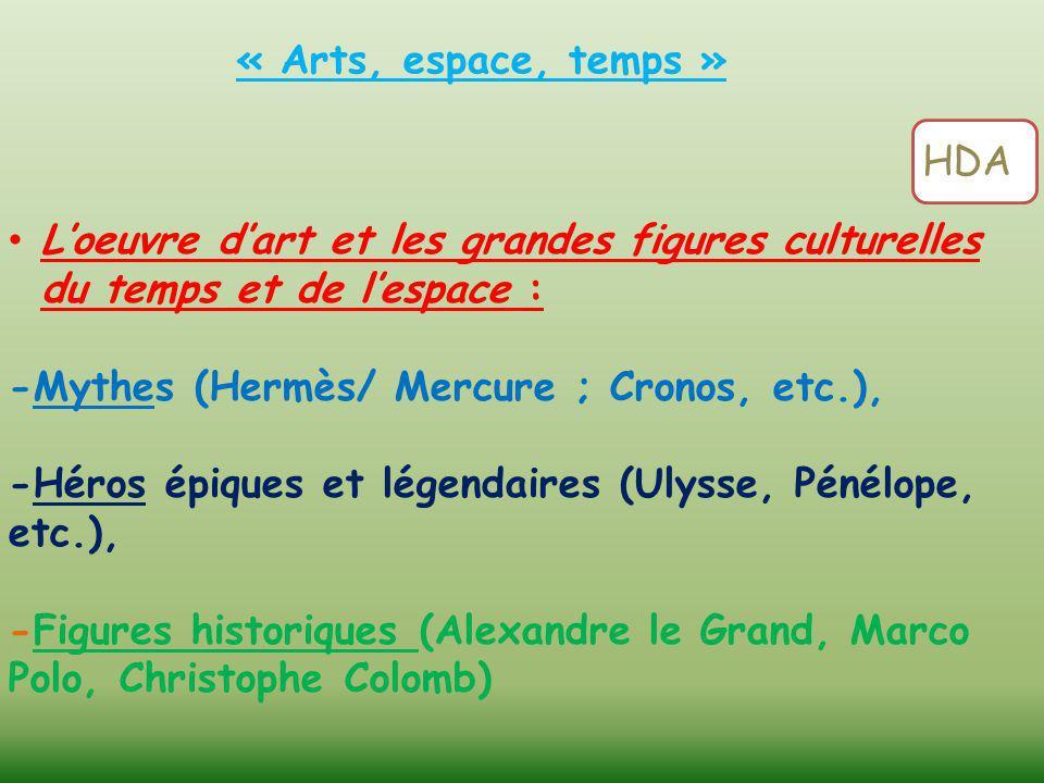 « Arts, espace, temps » HDA. L'oeuvre d'art et les grandes figures culturelles du temps et de l'espace :