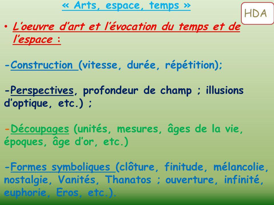 « Arts, espace, temps » HDA. L'oeuvre d'art et l'évocation du temps et de l'espace : -Construction (vitesse, durée, répétition);