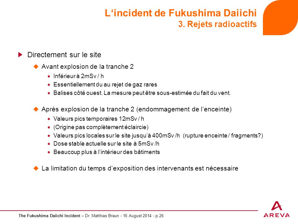 L'incident de Fukushima Daiichi 3. Rejets radioactifs