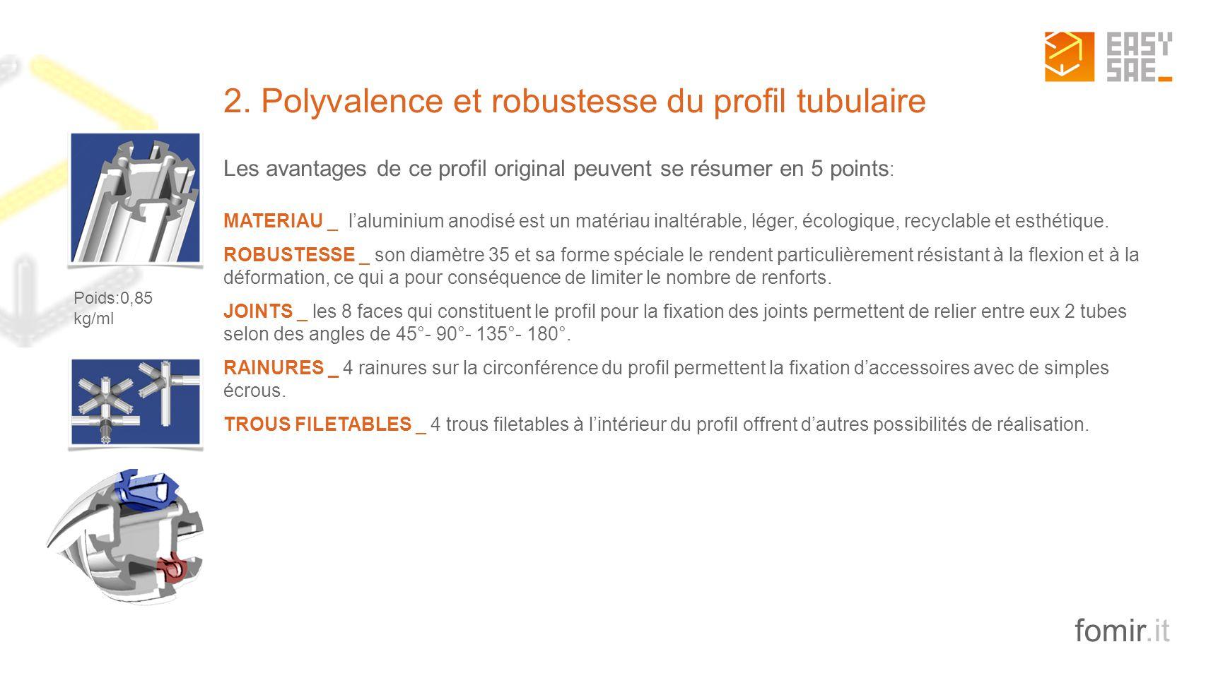 2. Polyvalence et robustesse du profil tubulaire