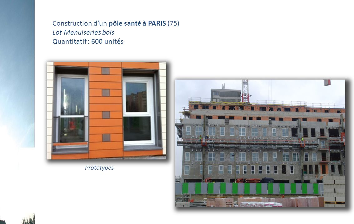Construction d'un pôle santé à PARIS (75) Lot Menuiseries bois