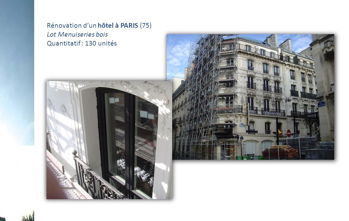 Rénovation d'un hôtel à PARIS (75)