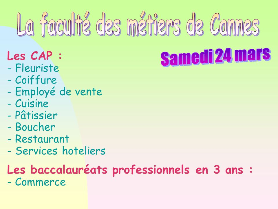 La faculté des métiers de Cannes
