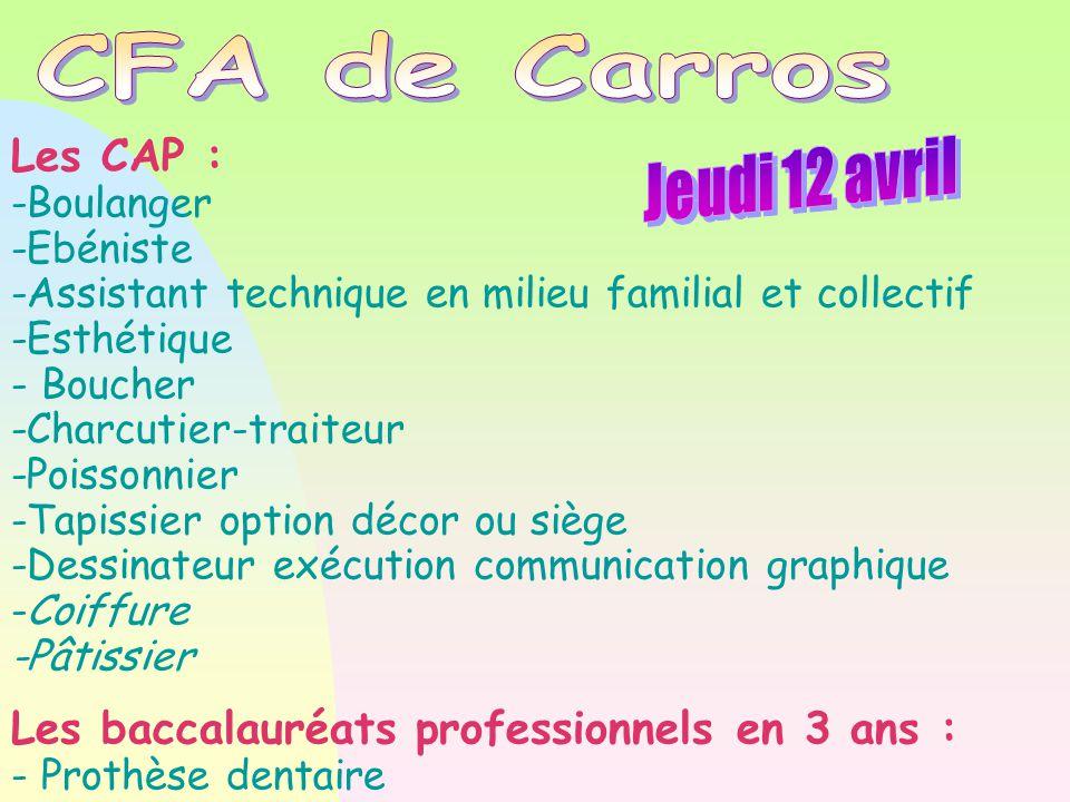 CFA de Carros Jeudi 12 avril Les CAP :
