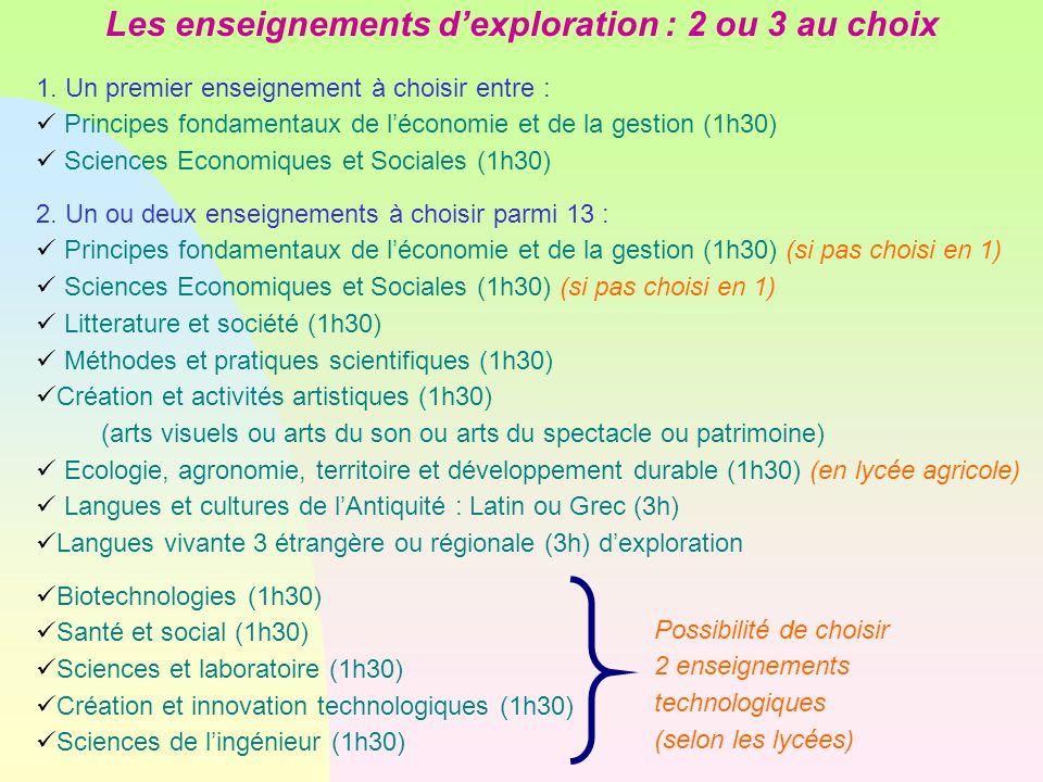 Les enseignements d'exploration : 2 ou 3 au choix