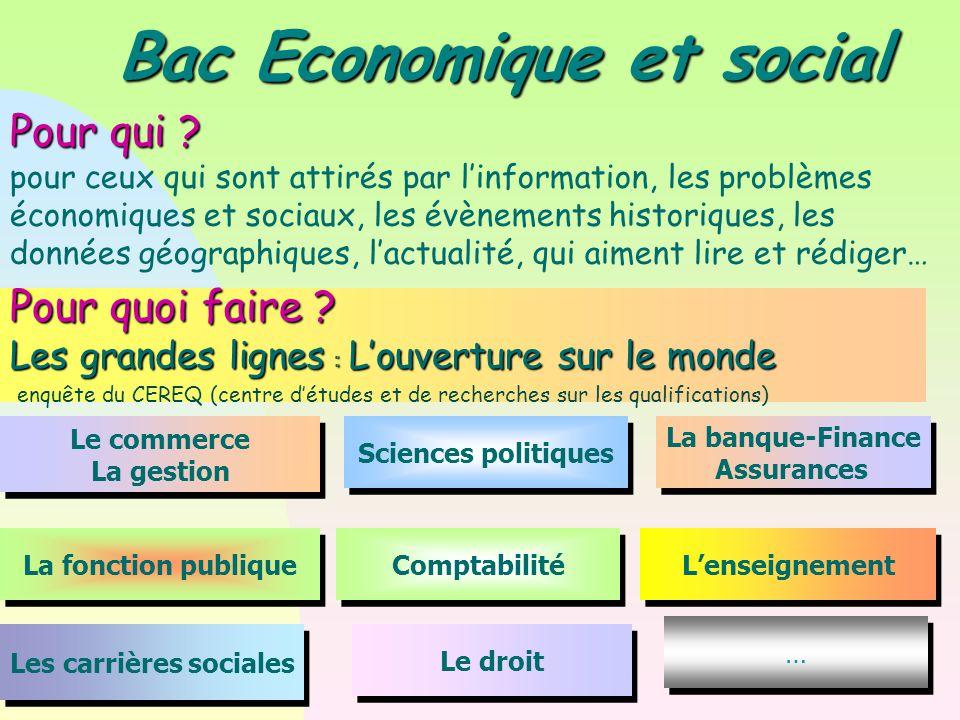 Bac Economique et social Les carrières sociales