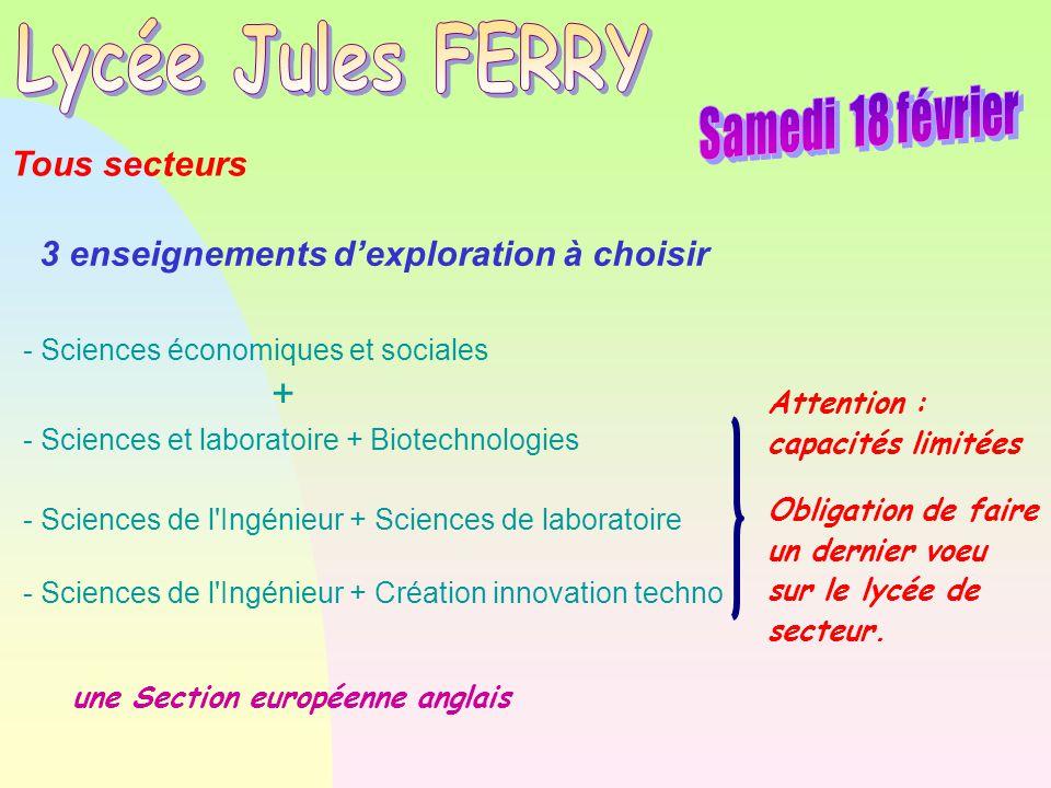 Lycée Jules FERRY Samedi 18 février + Tous secteurs