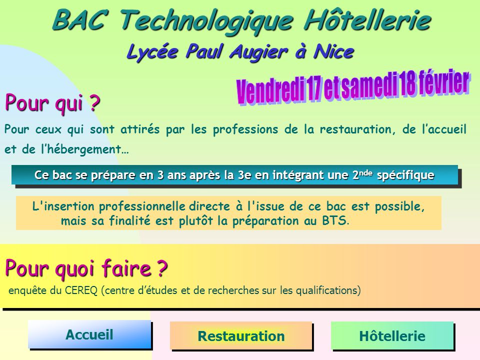 BAC Technologique Hôtellerie