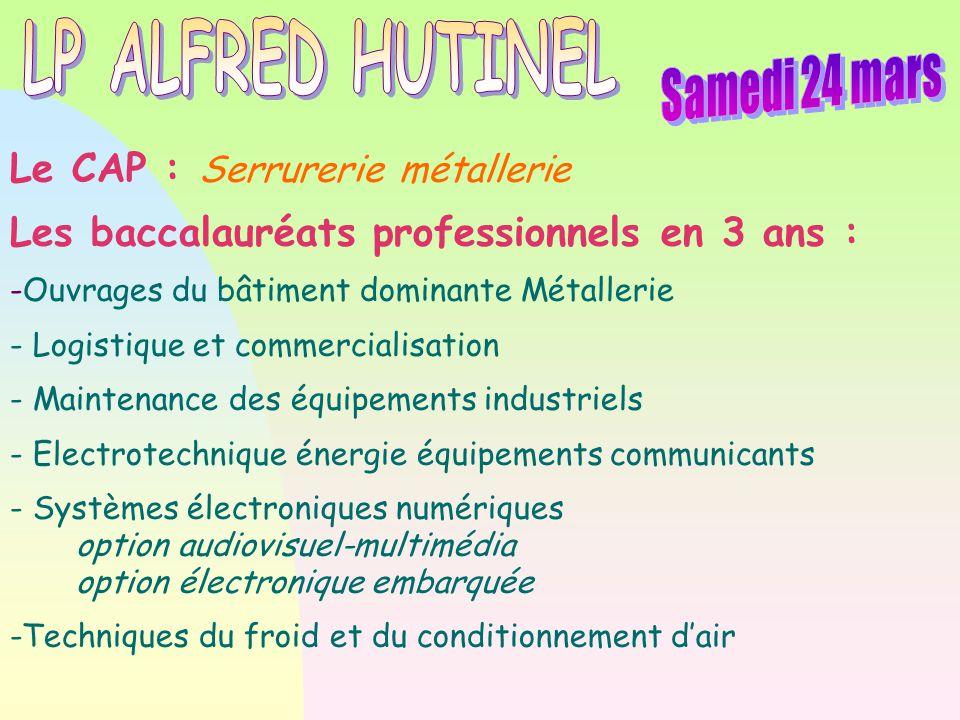 LP ALFRED HUTINEL Samedi 24 mars Le CAP : Serrurerie métallerie