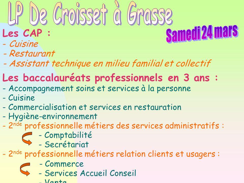 LP De Croisset à Grasse Samedi 24 mars Les CAP :