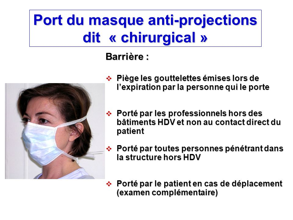 Port du masque anti-projections dit « chirurgical »
