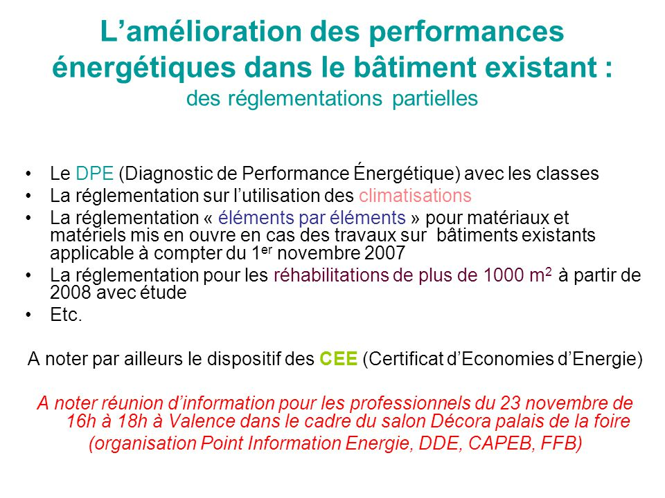 (organisation Point Information Energie, DDE, CAPEB, FFB)