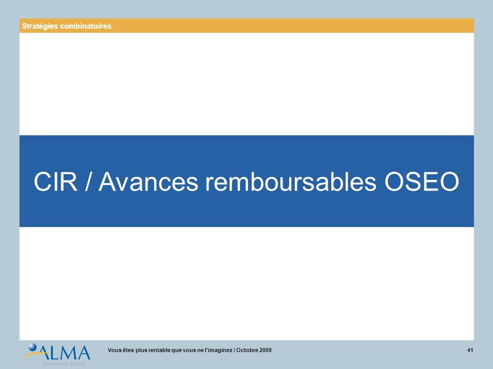 CIR / Avances remboursables OSEO