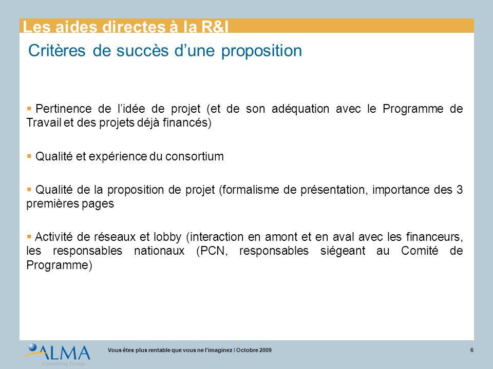 Critères de succès d'une proposition