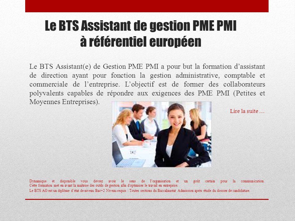 Le BTS Assistant de gestion PME PMI à référentiel européen