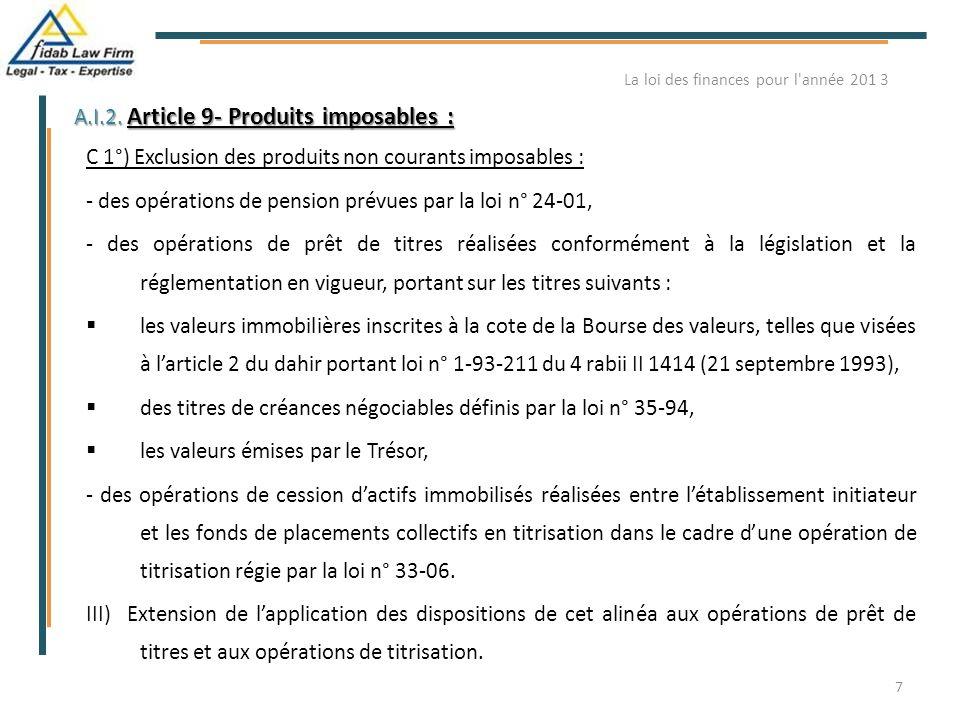 La loi des finances pour l année 201 3