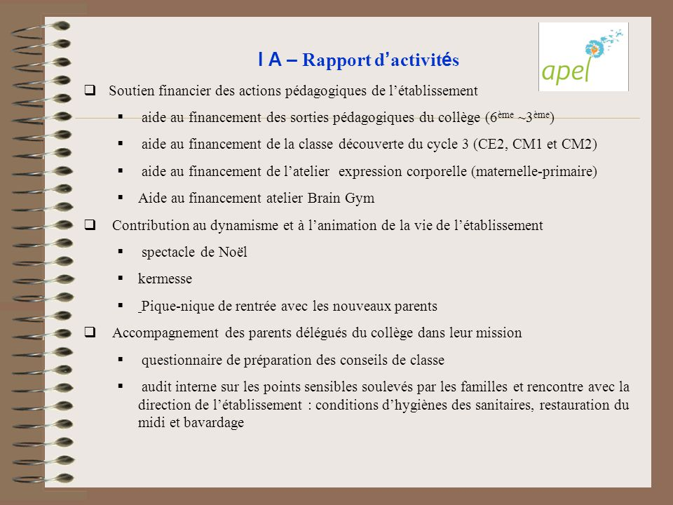 I A – Rapport d'activités