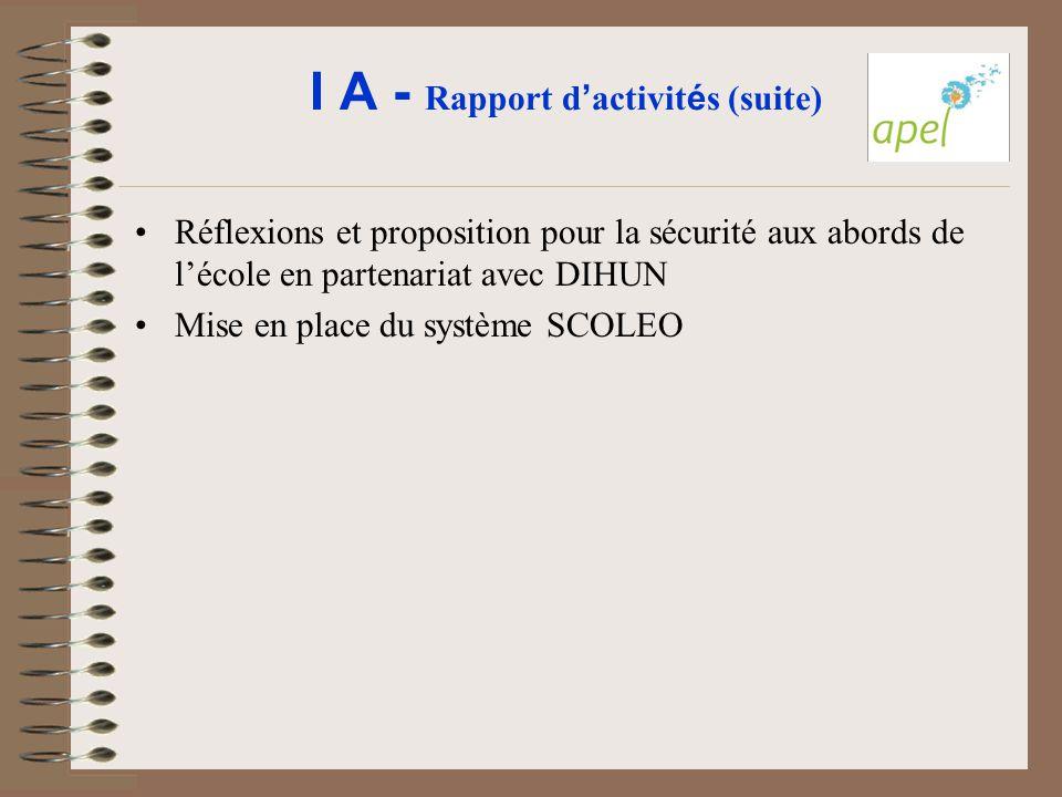 I A - Rapport d'activités (suite)