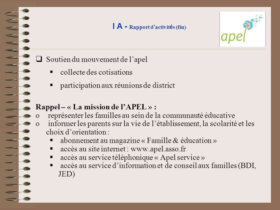 I A - Rapport d'activités (fin)