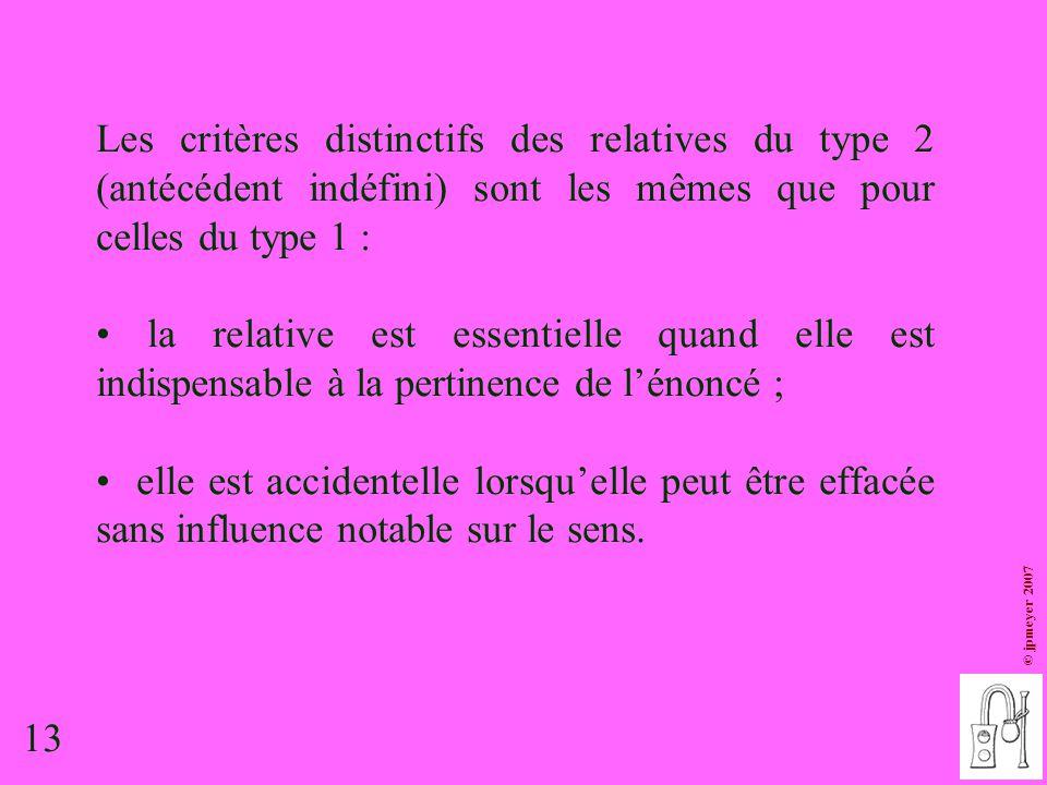 Les critères distinctifs des relatives du type 2 (antécédent indéfini) sont les mêmes que pour celles du type 1 :