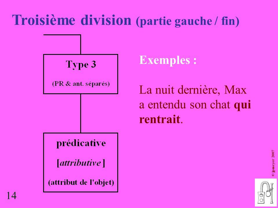 Troisième division (partie gauche / fin)