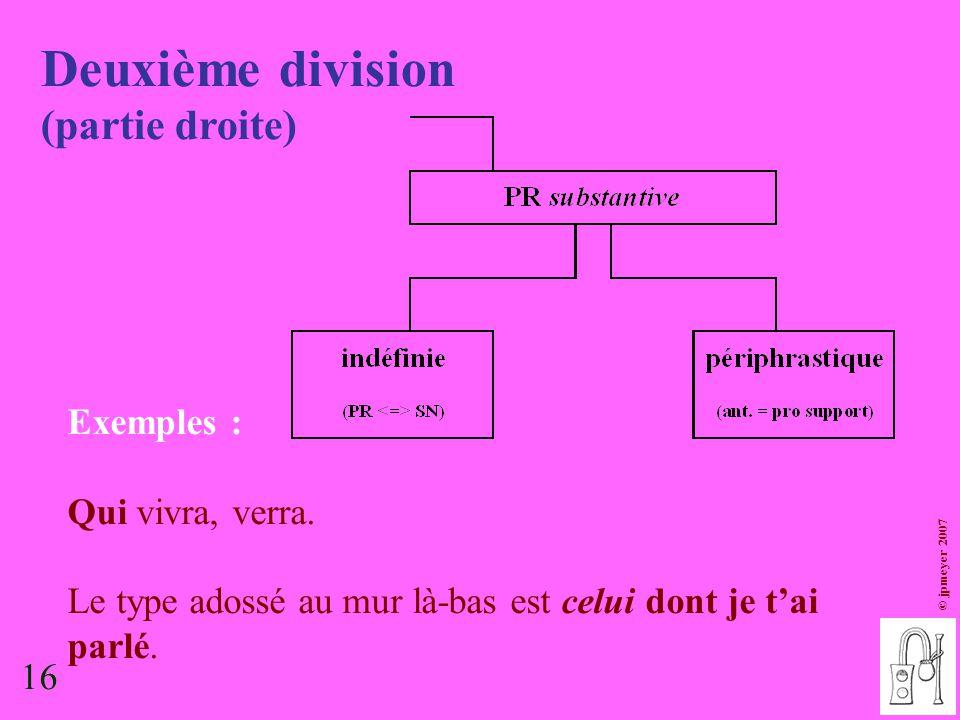 Deuxième division (partie droite) Exemples : Qui vivra, verra.
