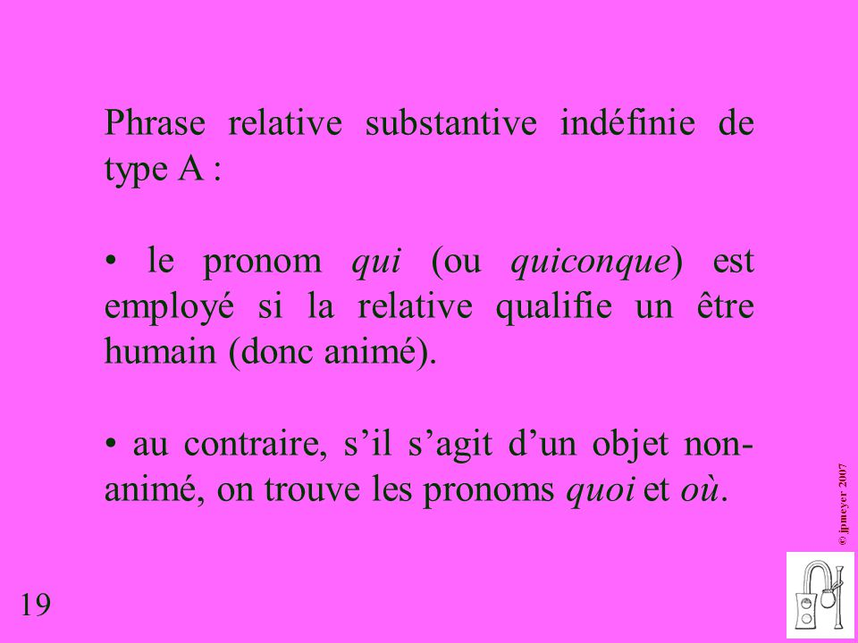 Phrase relative substantive indéfinie de type A :