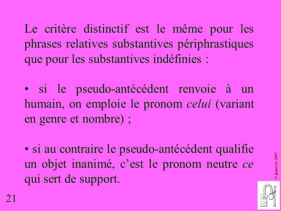 Le critère distinctif est le même pour les phrases relatives substantives périphrastiques que pour les substantives indéfinies :
