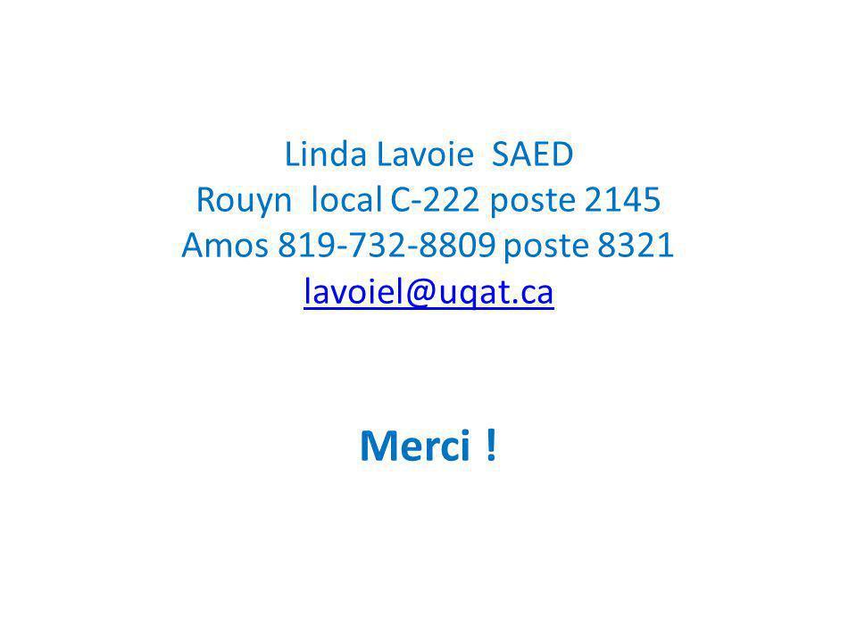 Linda Lavoie SAED Rouyn local C-222 poste 2145 Amos 819-732-8809 poste 8321 lavoiel@uqat.ca Merci !