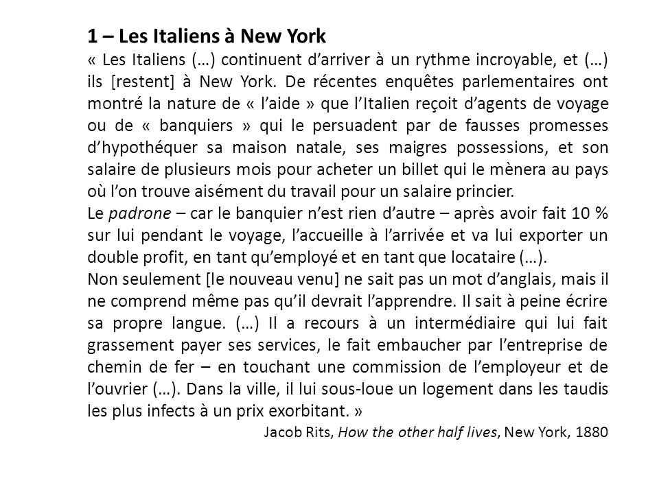1 – Les Italiens à New York