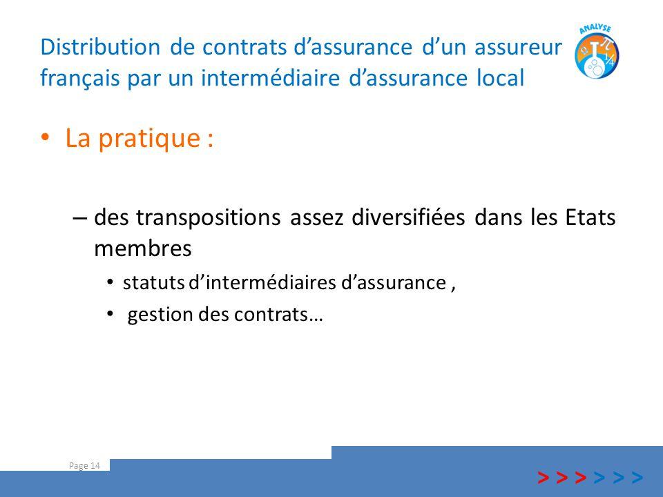 Distribution de contrats d'assurance d'un assureur français par un intermédiaire d'assurance local