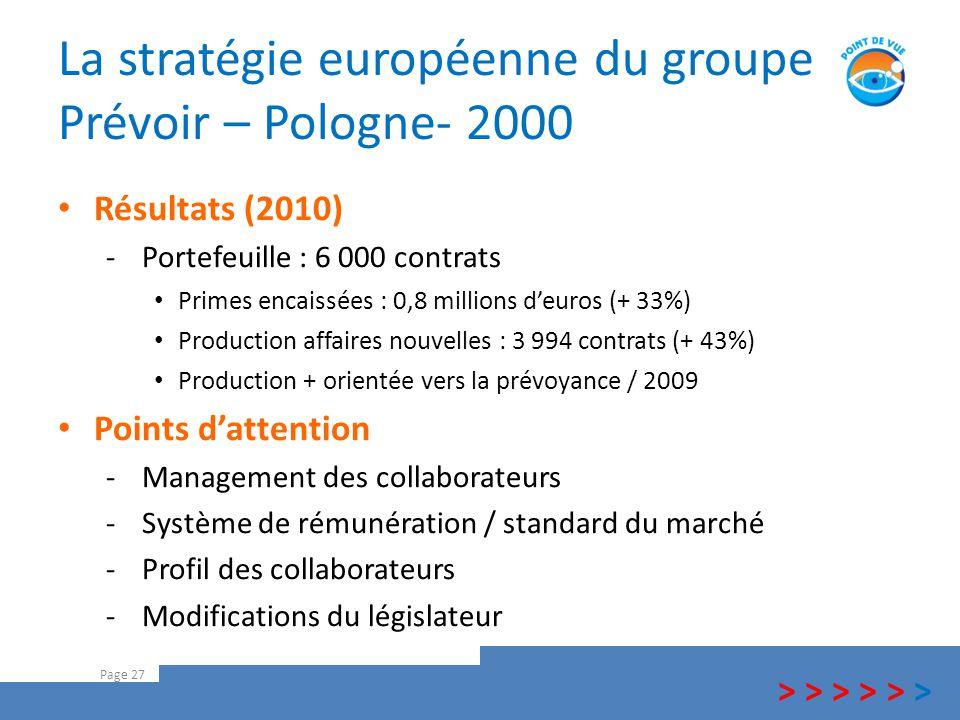 La stratégie européenne du groupe Prévoir – Pologne- 2000