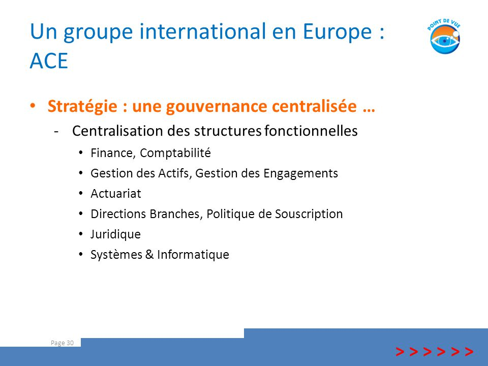 Un groupe international en Europe : ACE