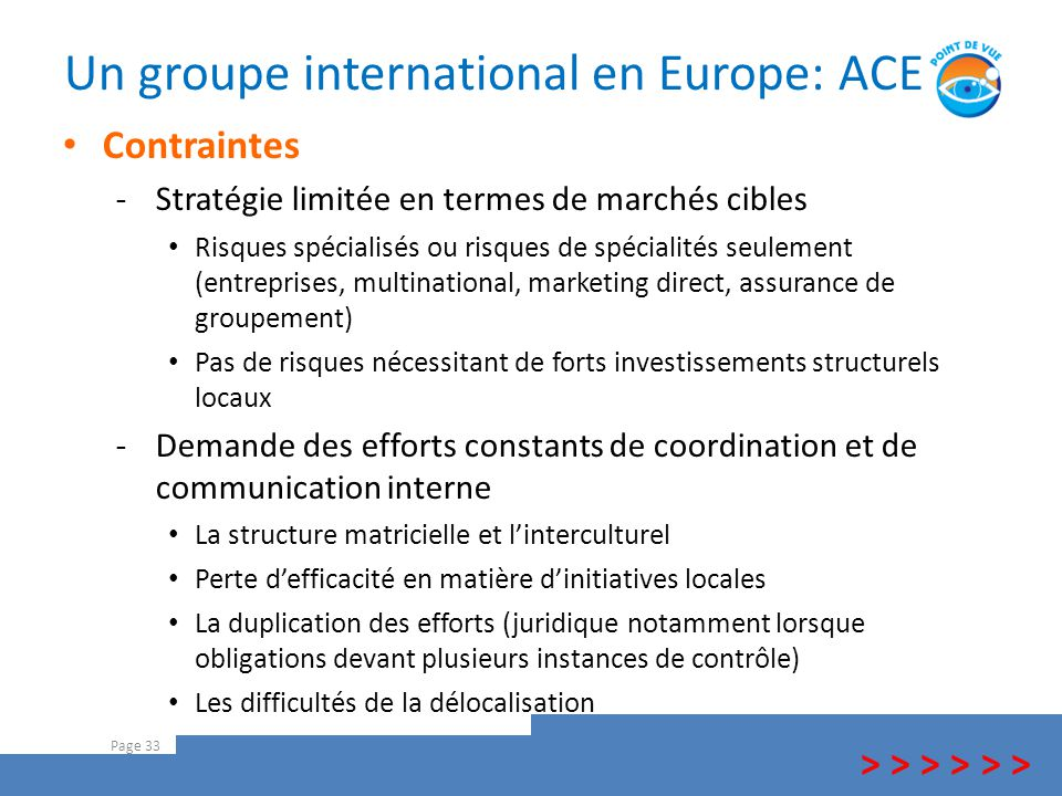 Un groupe international en Europe: ACE