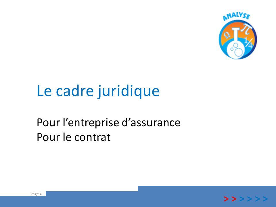 Le cadre juridique Pour l'entreprise d'assurance Pour le contrat