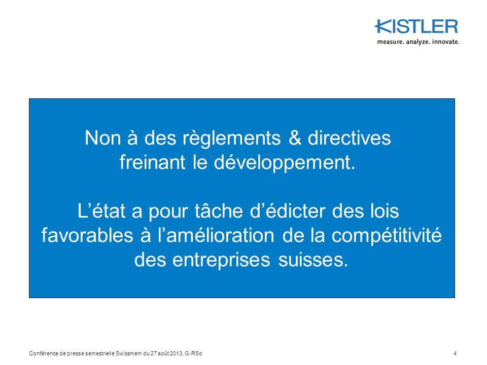 Non à des règlements & directives freinant le développement.
