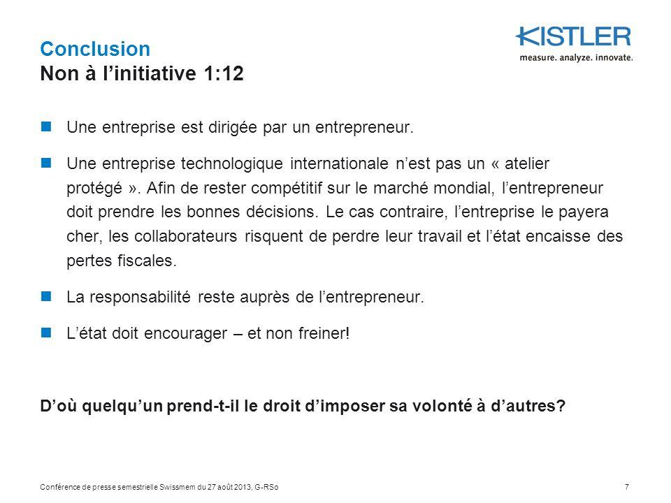 Conclusion Non à l'initiative 1:12